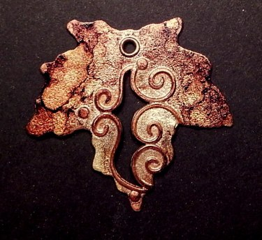 Copper and sterling silver, alcohol ink