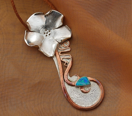 opal silver copper hand fabricated forged