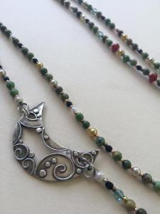 silver moon with beads